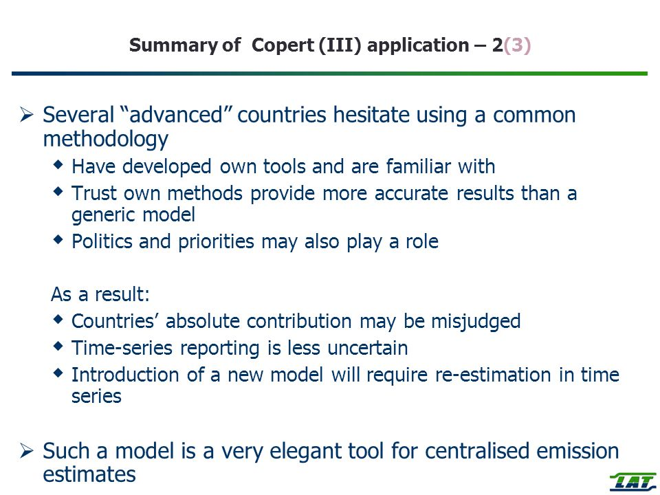 Summary of Copert (III) application – 2(3)