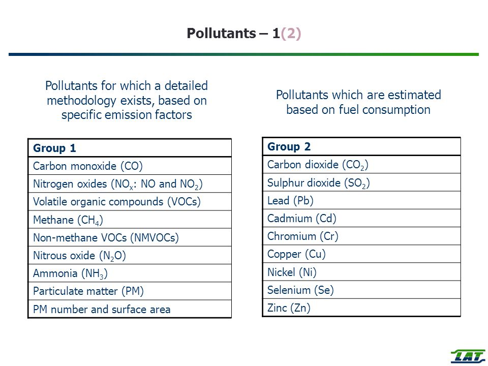 Pollutants which are estimated based on fuel consumption