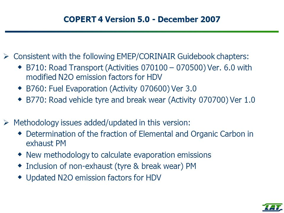 COPERT 4 Version 5.0 - December 2007