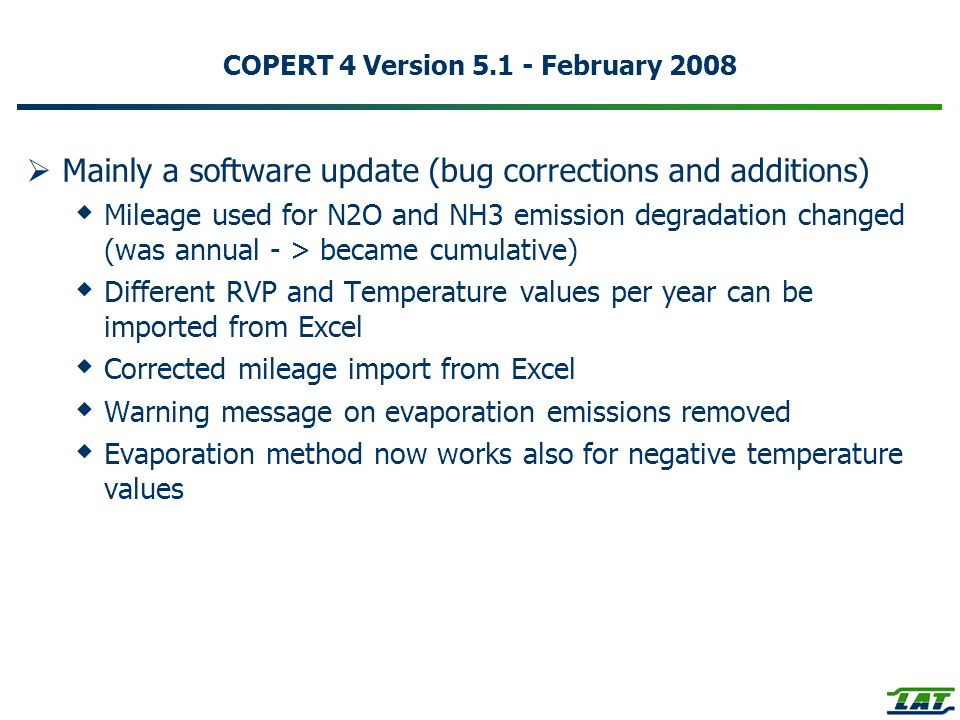 COPERT 4 Version 5.1 - February 2008