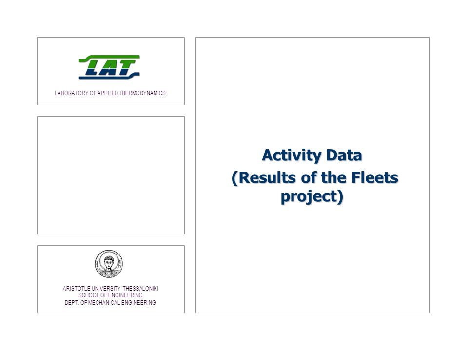 Activity Data (Results of the Fleets project)