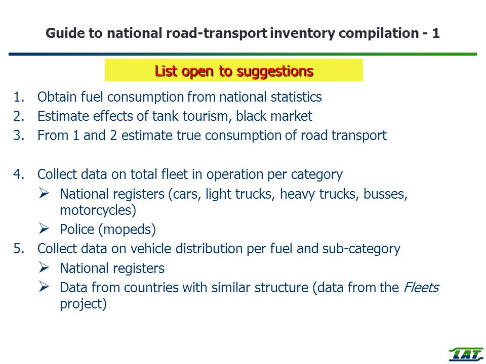 Guide to national road-transport inventory compilation - 1