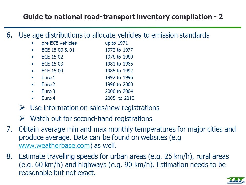 Guide to national road-transport inventory compilation - 2