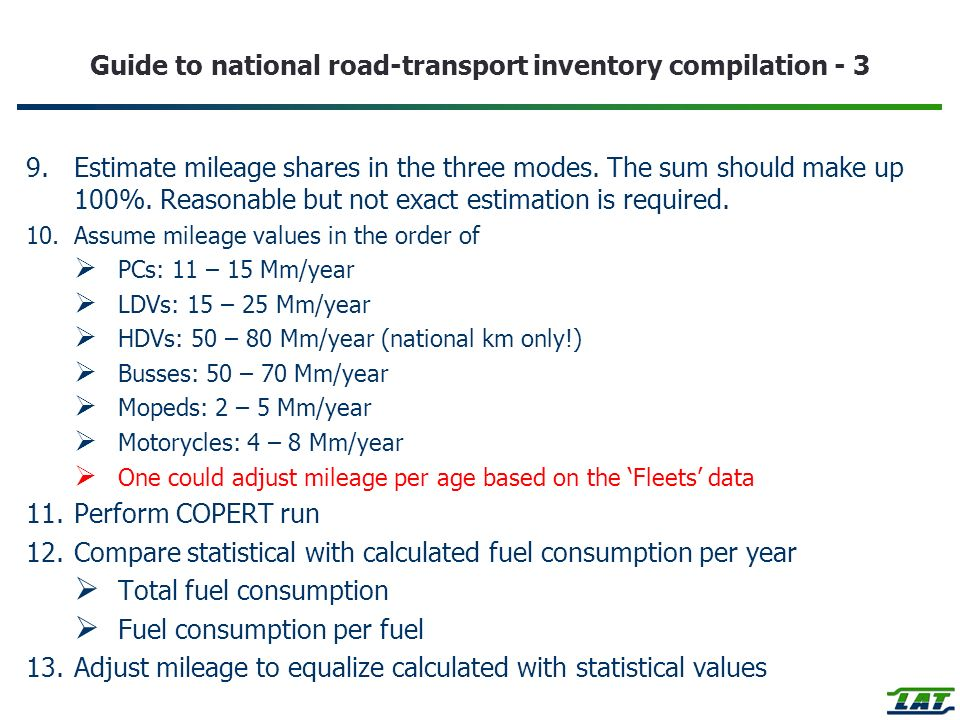 Guide to national road-transport inventory compilation - 3