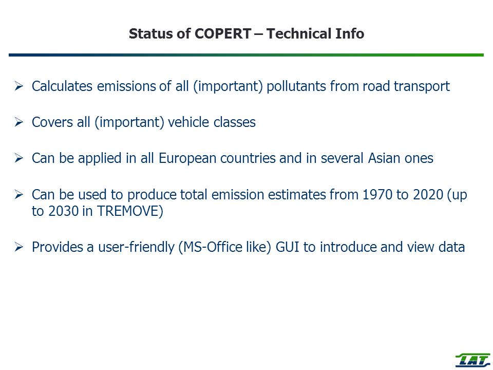 Status of COPERT – Technical Info