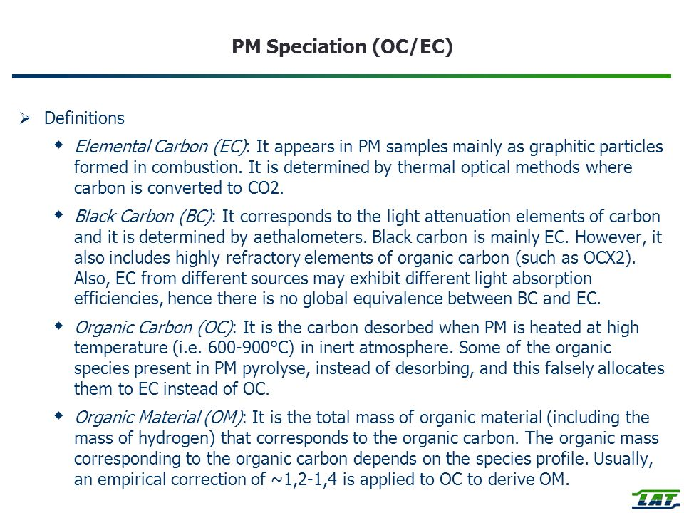 PM Speciation (OC/EC) Definitions