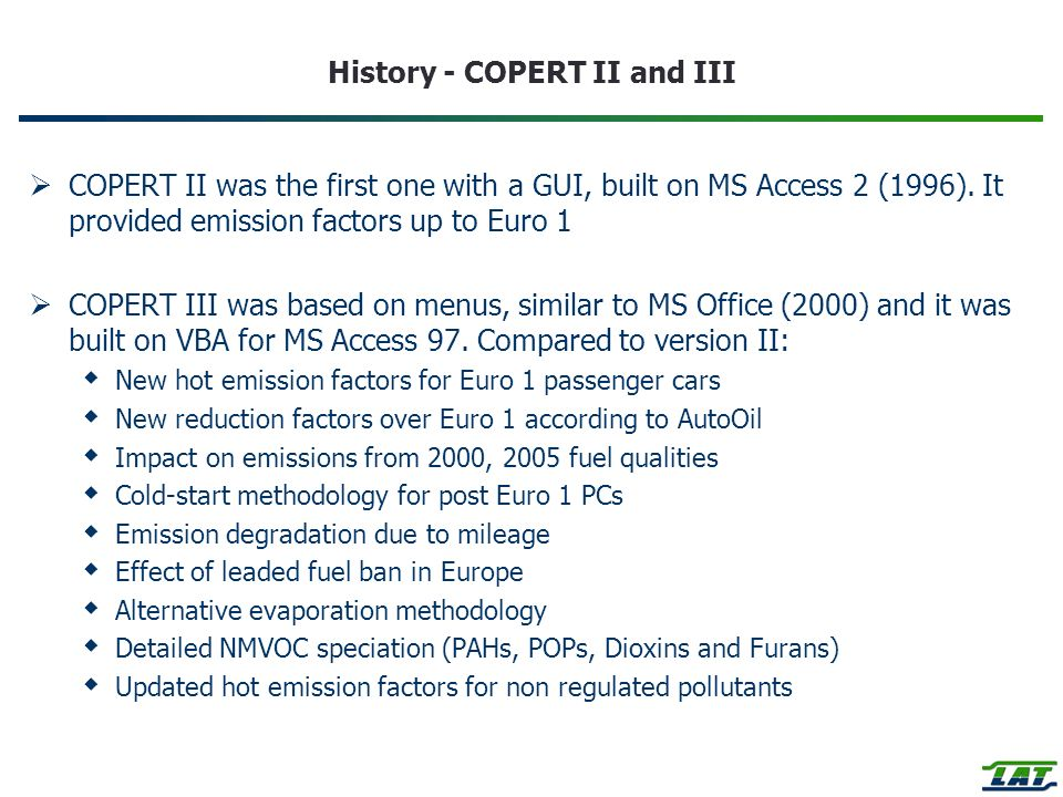 History - COPERT II and III