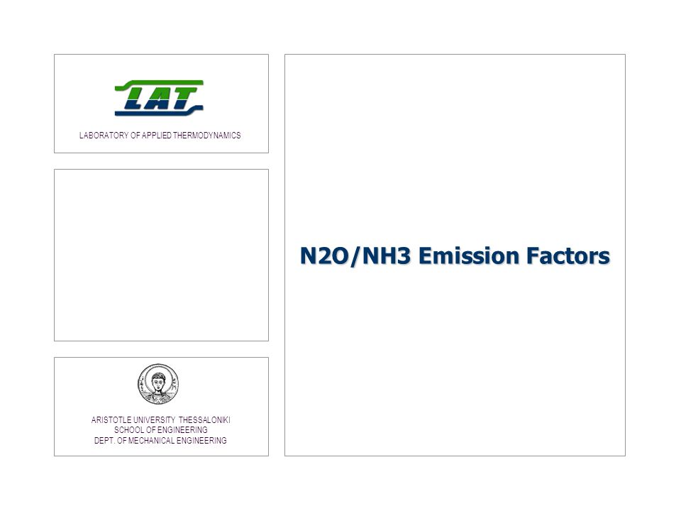 N2O/NH3 Emission Factors