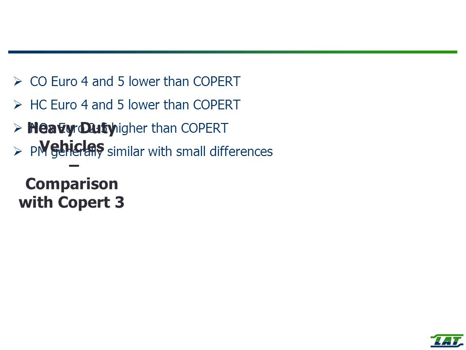 Heavy Duty Vehicles – Comparison with Copert 3