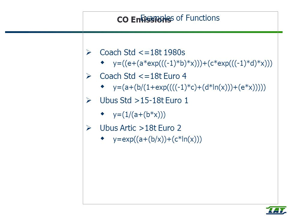 CO Emissions Examples of Functions Coach Std <=18t 1980s