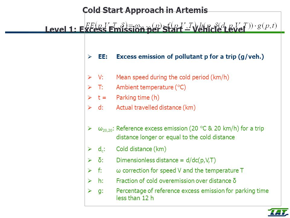 Cold Start Approach in Artemis Level 1: Excess Emission per Start – Vehicle Level