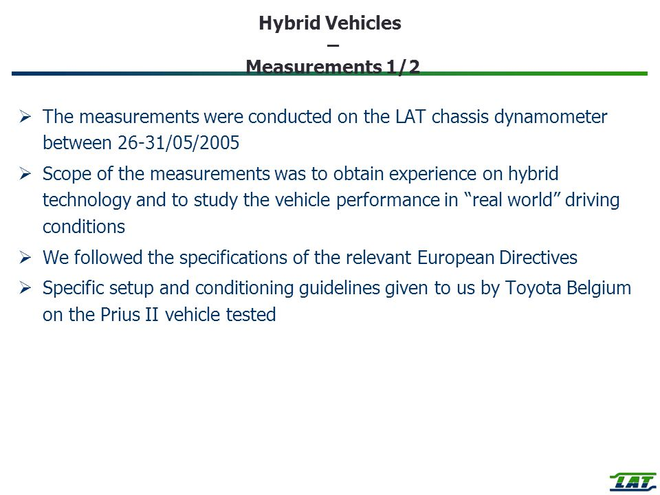 Hybrid Vehicles – Measurements 1/2