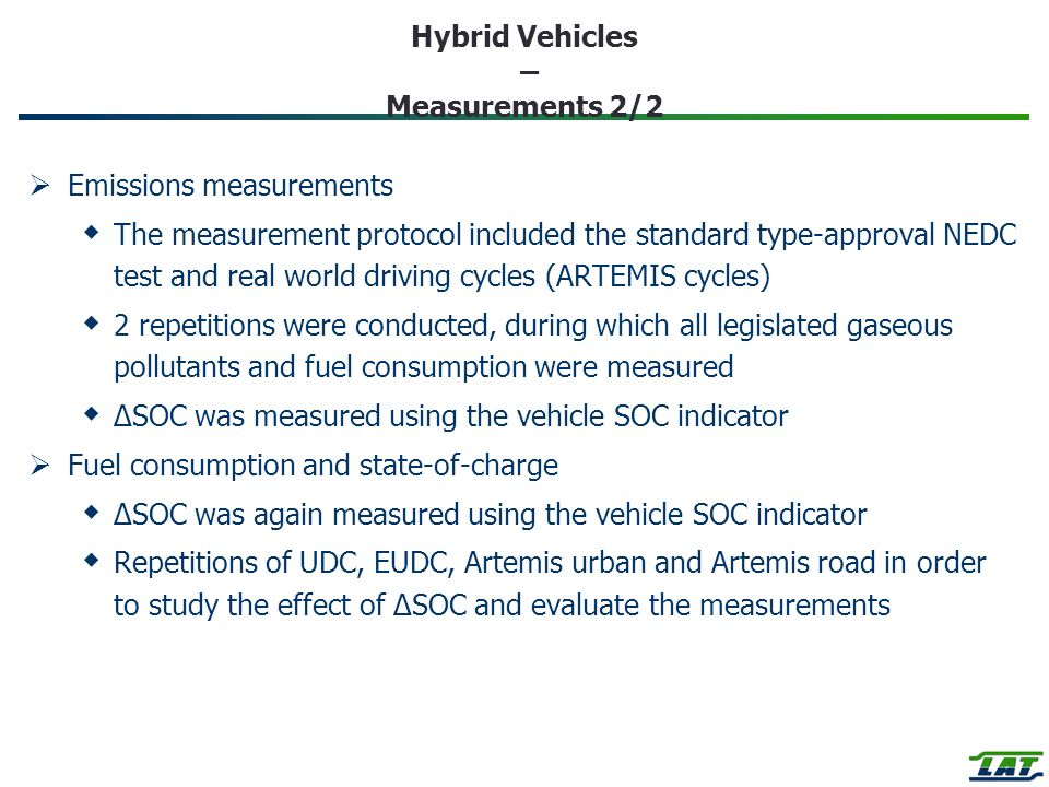 Hybrid Vehicles – Measurements 2/2