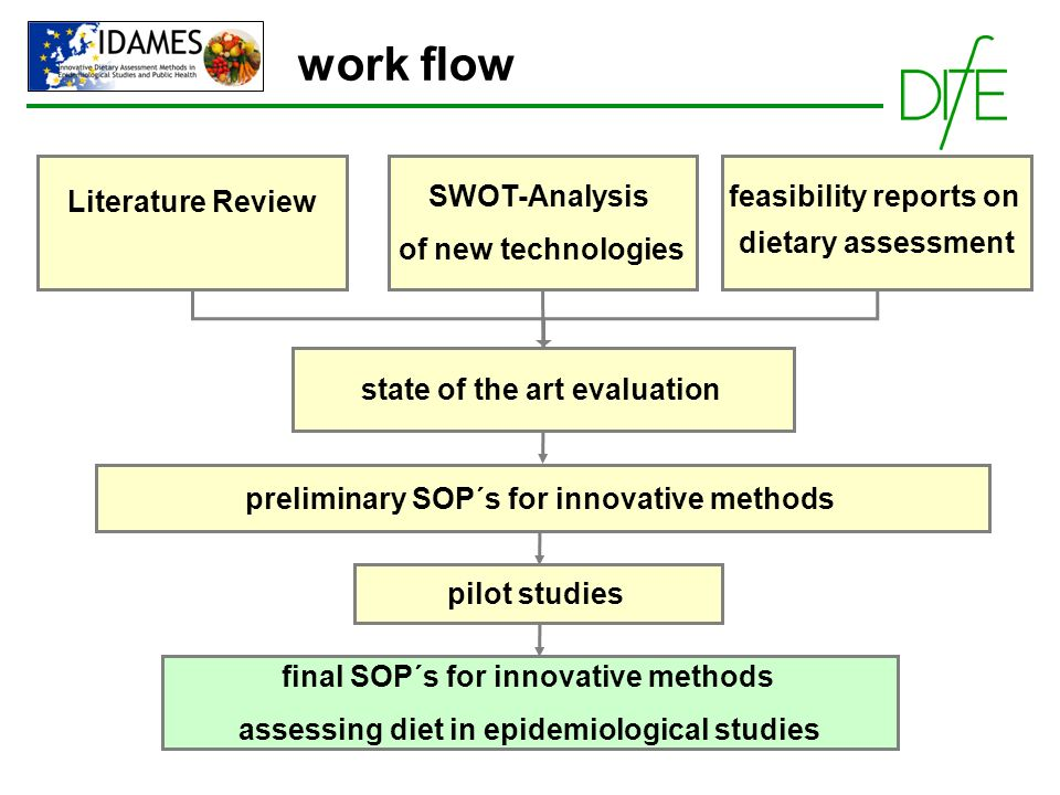 work flow Literature Review SWOT-Analysis of new technologies