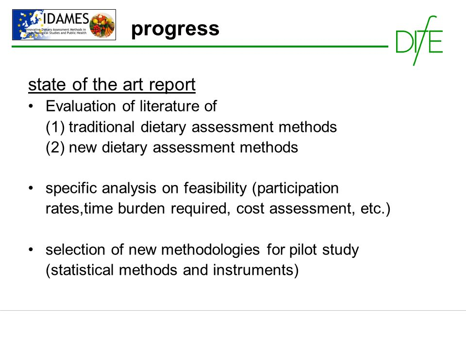 progress state of the art report Evaluation of literature of