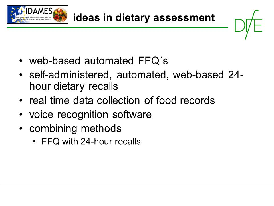 ideas in dietary assessment