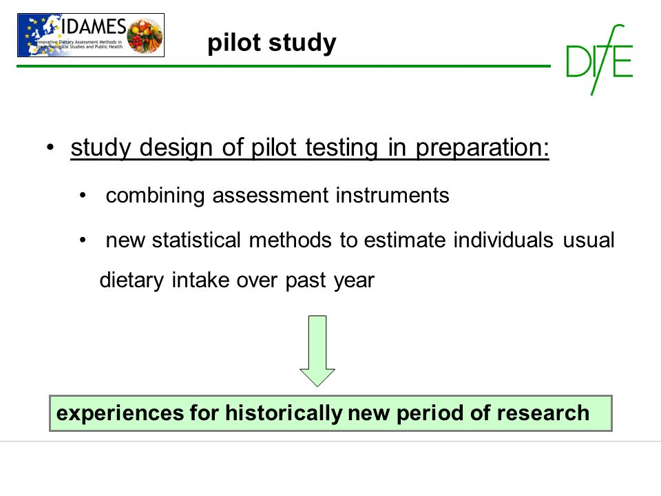 study design of pilot testing in preparation: