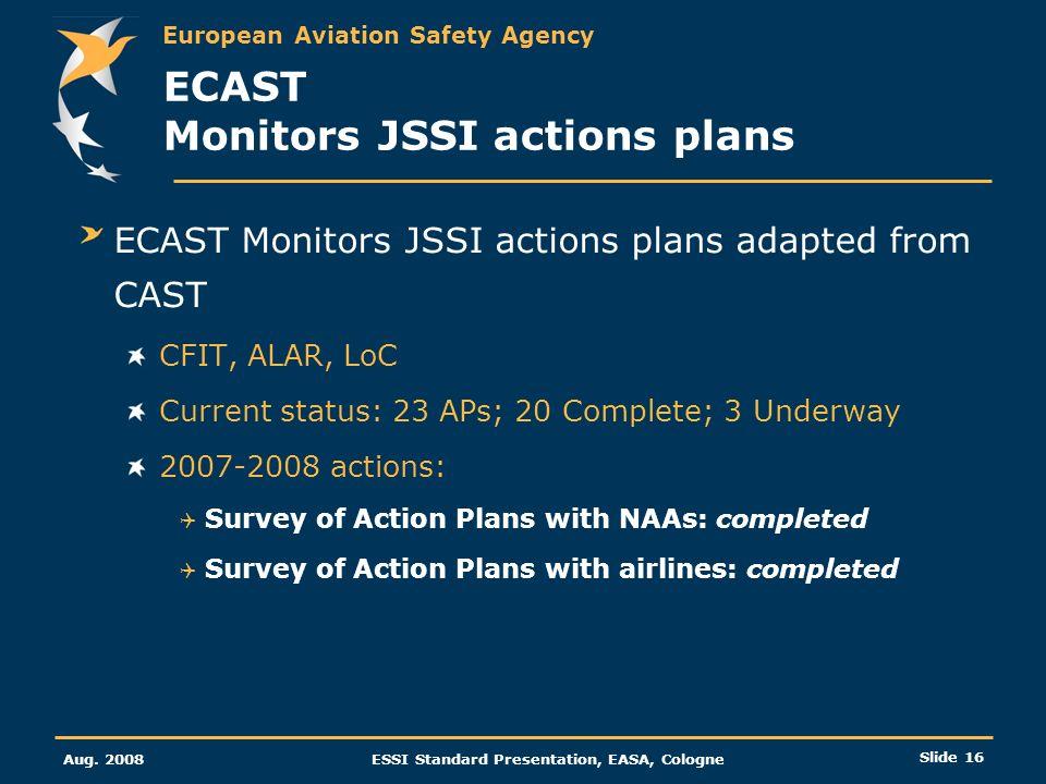 ECAST Monitors JSSI actions plans