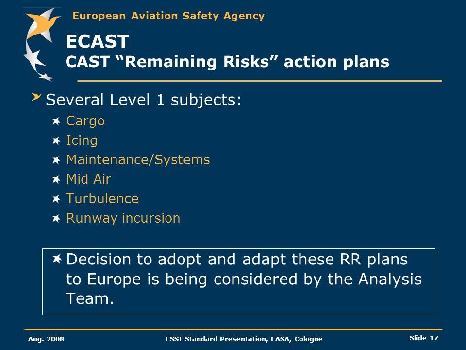 ECAST CAST Remaining Risks action plans