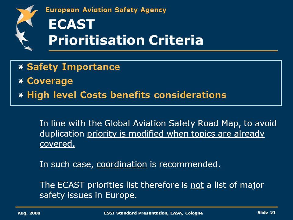ECAST Prioritisation Criteria