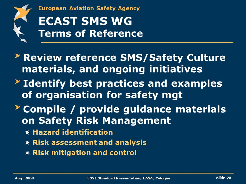 ECAST SMS WG Terms of Reference
