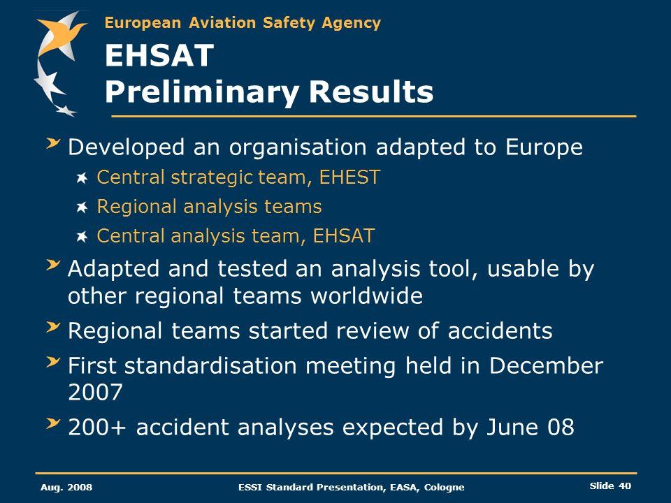 EHSAT Preliminary Results