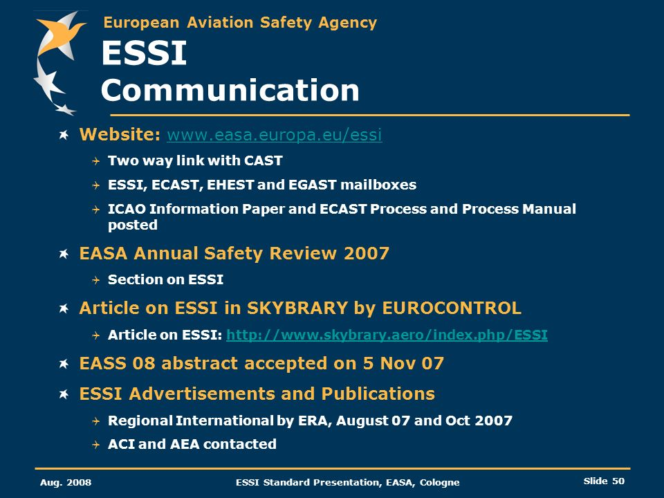 ESSI Communication Website: www.easa.europa.eu/essi