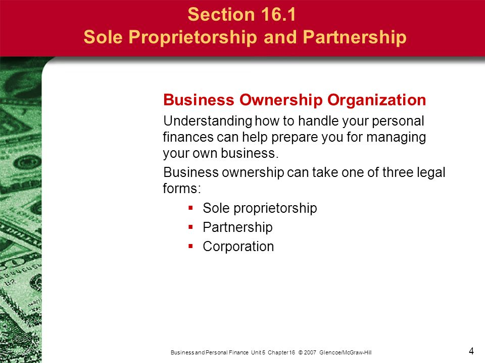 an analysis of three main forms of business ownership Forms of business organization this form of ownership is not often used for operating retail or service businesses you're a member of the main street group.