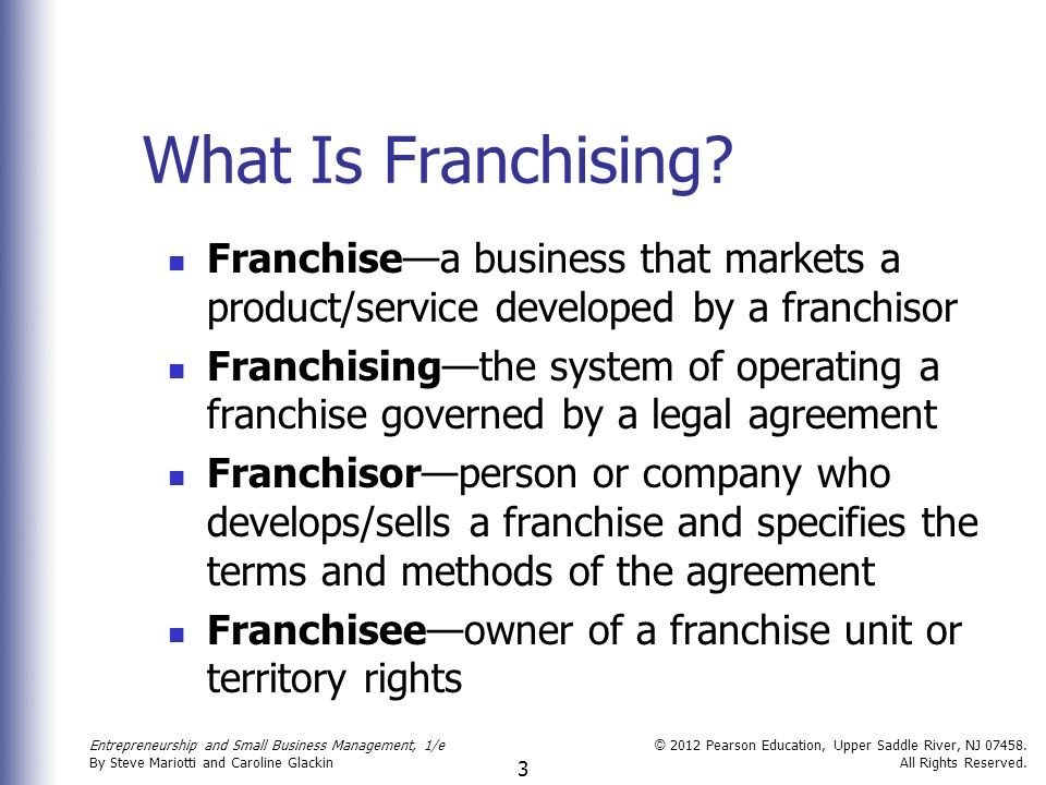 entrepreneurship franchising and small business Entrepreneurship and small business management explore explore scribd top charts  the right small business franchises and buyouts unit-ii  chapter i entrepreneurship and small.