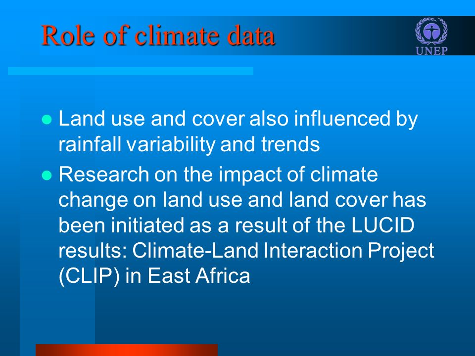 Role of climate data Land use and cover also influenced by rainfall variability and trends.