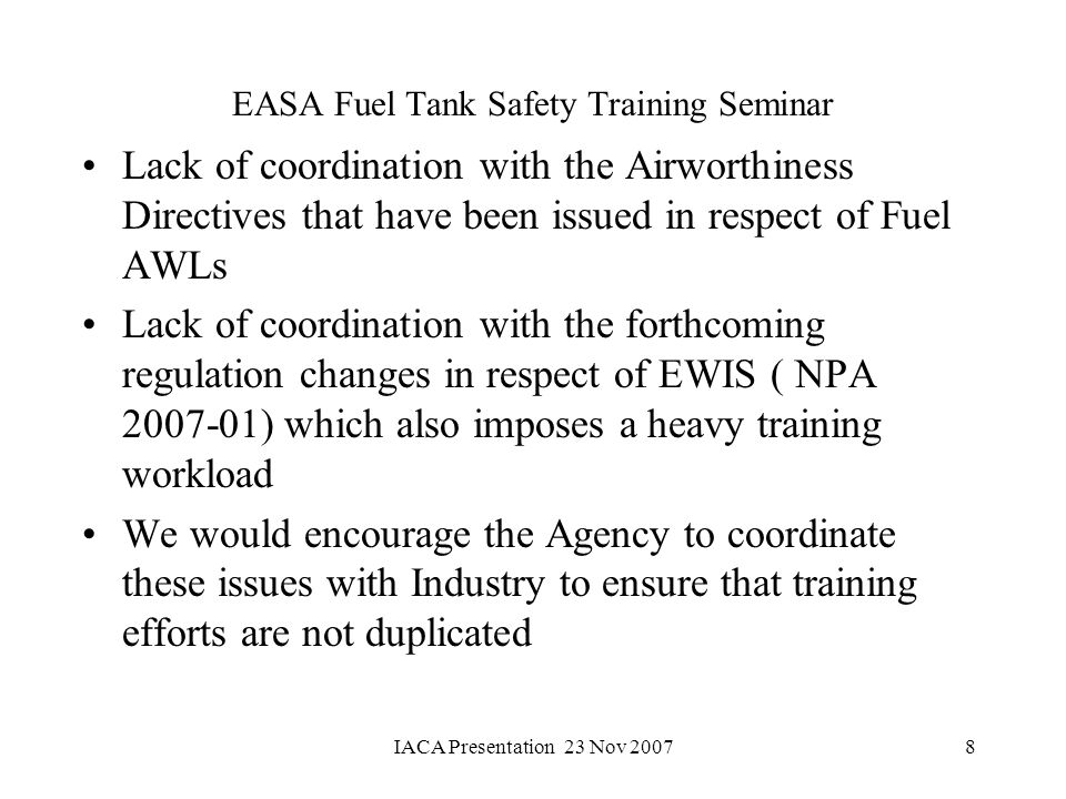 EASA Fuel Tank Safety Training Seminar