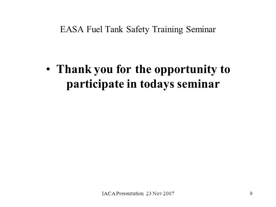EASA Fuel Tank Safety Training Seminar