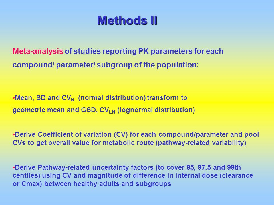 Methods II Meta-analysis of studies reporting PK parameters for each compound/ parameter/ subgroup of the population: