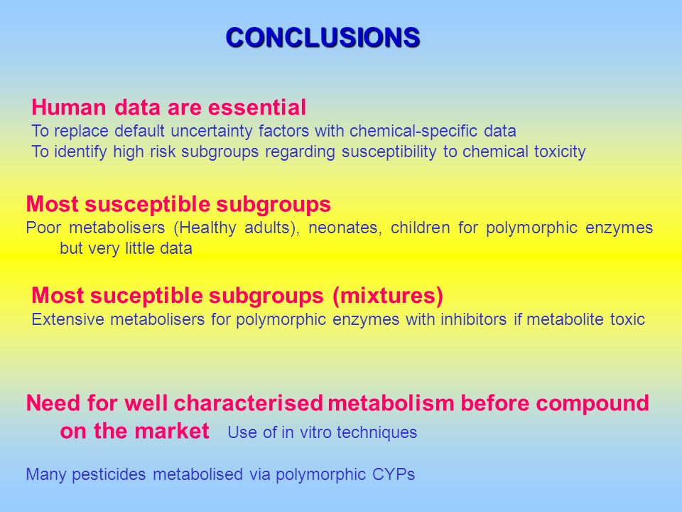 CONCLUSIONS Human data are essential Most susceptible subgroups