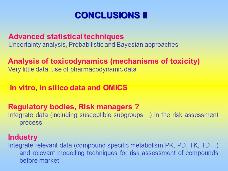 CONCLUSIONS II Advanced statistical techniques