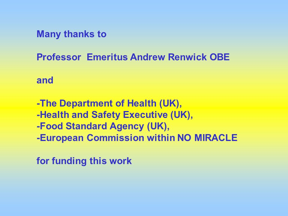 Many thanks to Professor Emeritus Andrew Renwick OBE. and. -The Department of Health (UK), -Health and Safety Executive (UK),