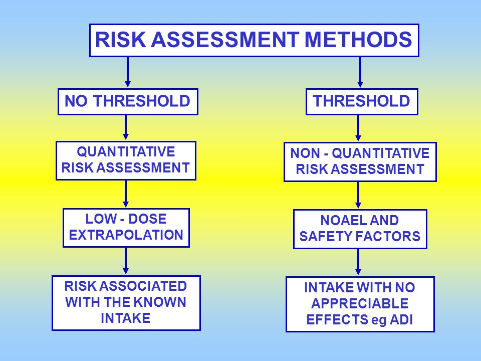 RISK ASSESSMENT METHODS INTAKE WITH NO APPRECIABLE EFFECTS eg ADI