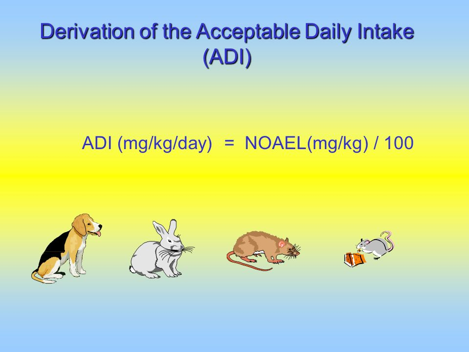 Derivation of the Acceptable Daily Intake (ADI)