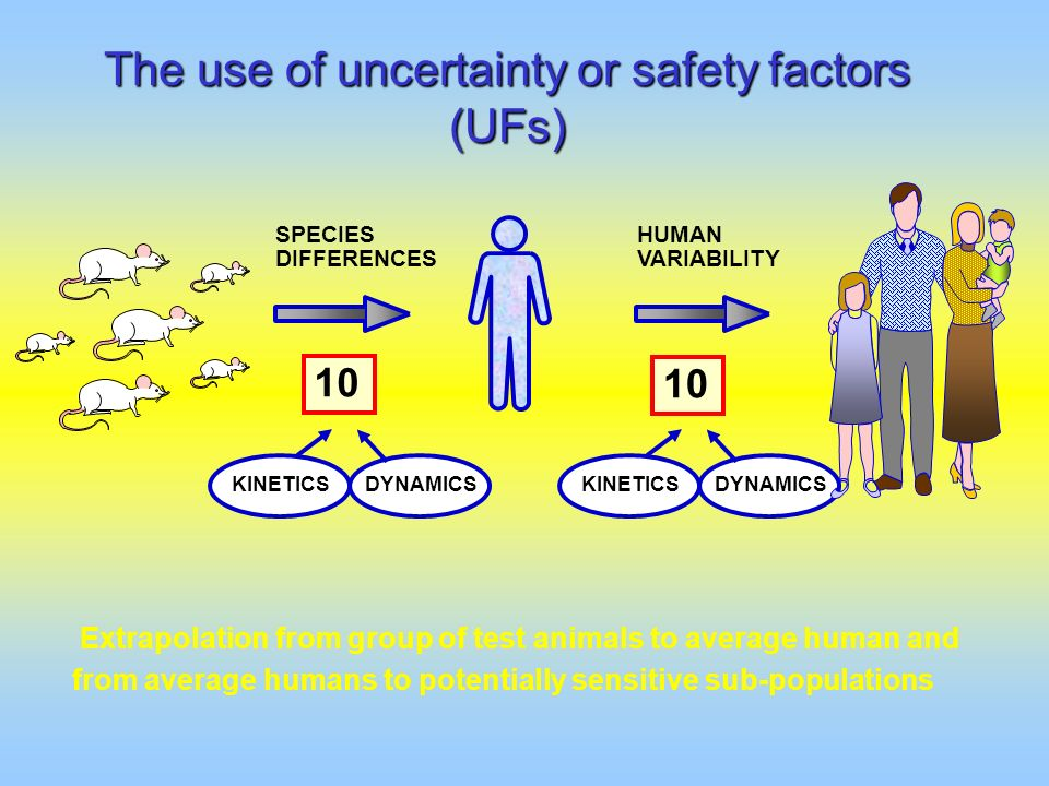 The use of uncertainty or safety factors (UFs)