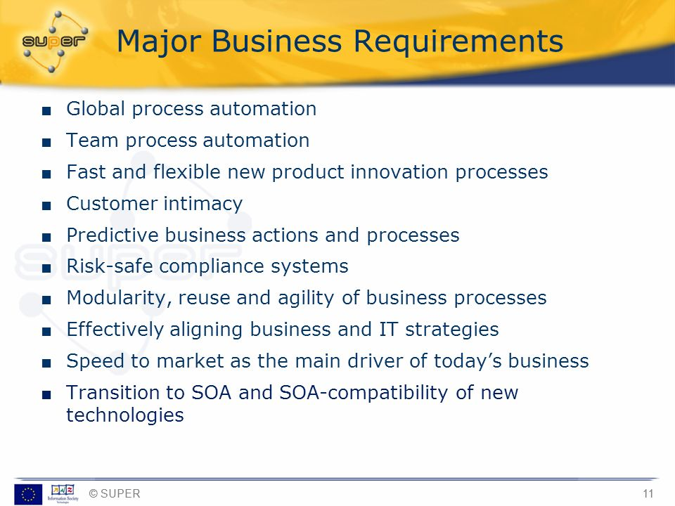 Major Business Requirements