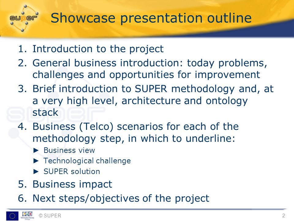 Showcase presentation outline