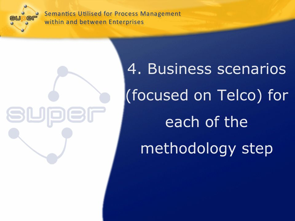 4. Business scenarios (focused on Telco) for each of the methodology step