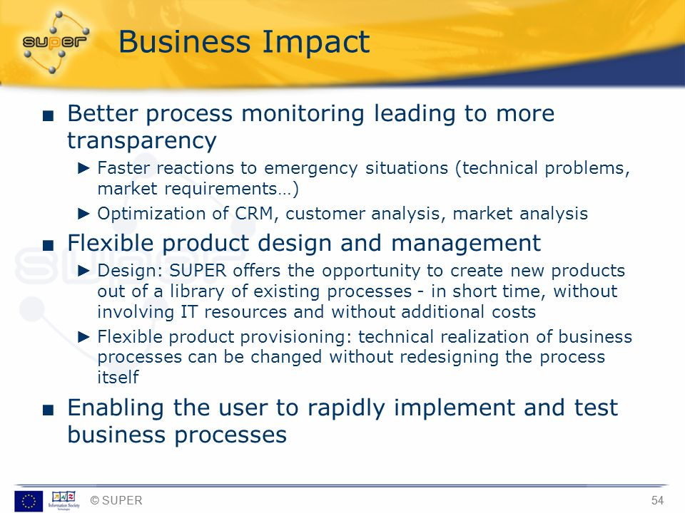 Business Impact Better process monitoring leading to more transparency