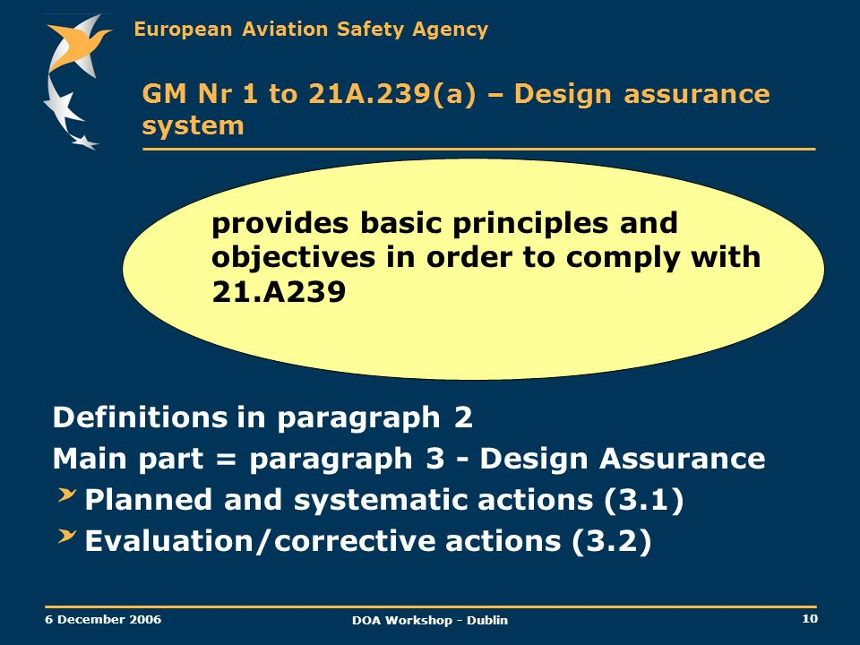 Definitions in paragraph 2 Main part = paragraph 3 - Design Assurance