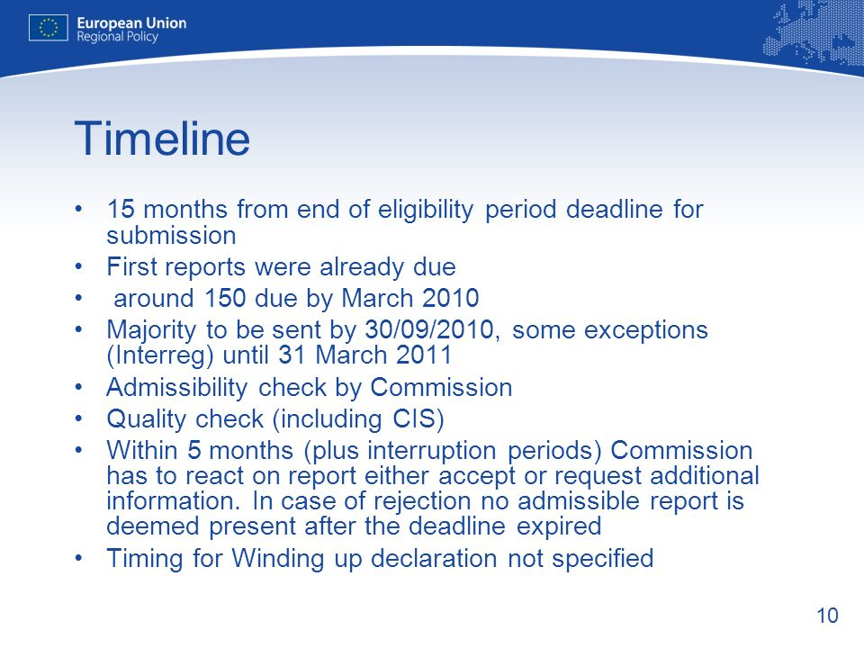 Timeline 15 months from end of eligibility period deadline for submission. First reports were already due.