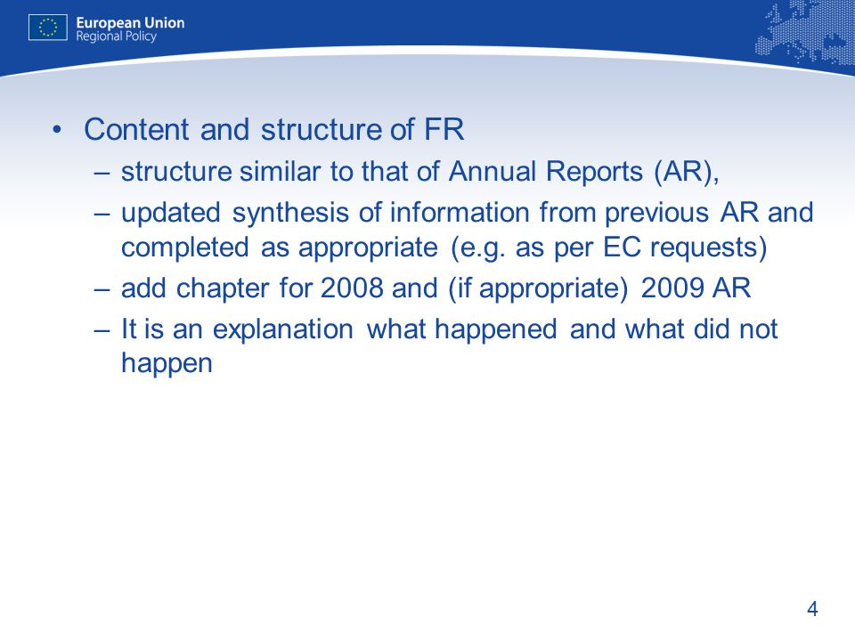 Content and structure of FR