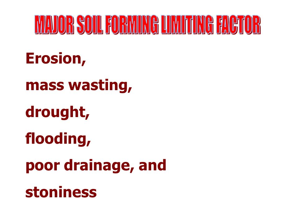 MAJOR SOIL FORMING LIMITING FACTOR