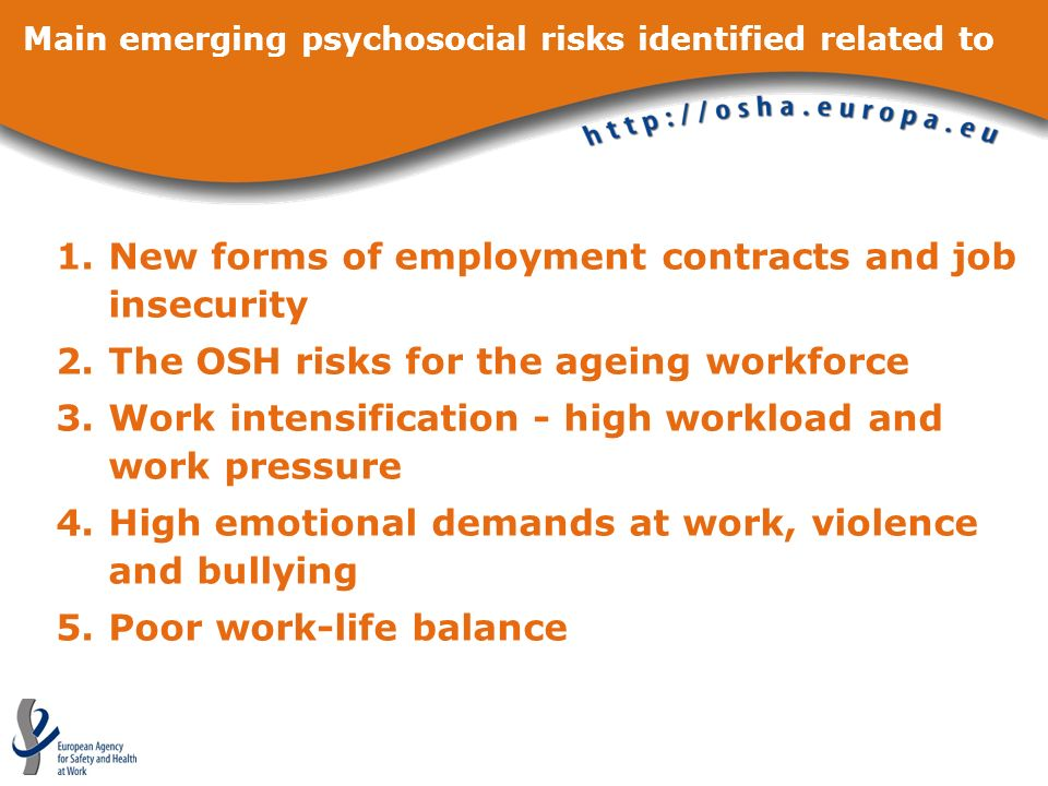 Main emerging psychosocial risks identified related to