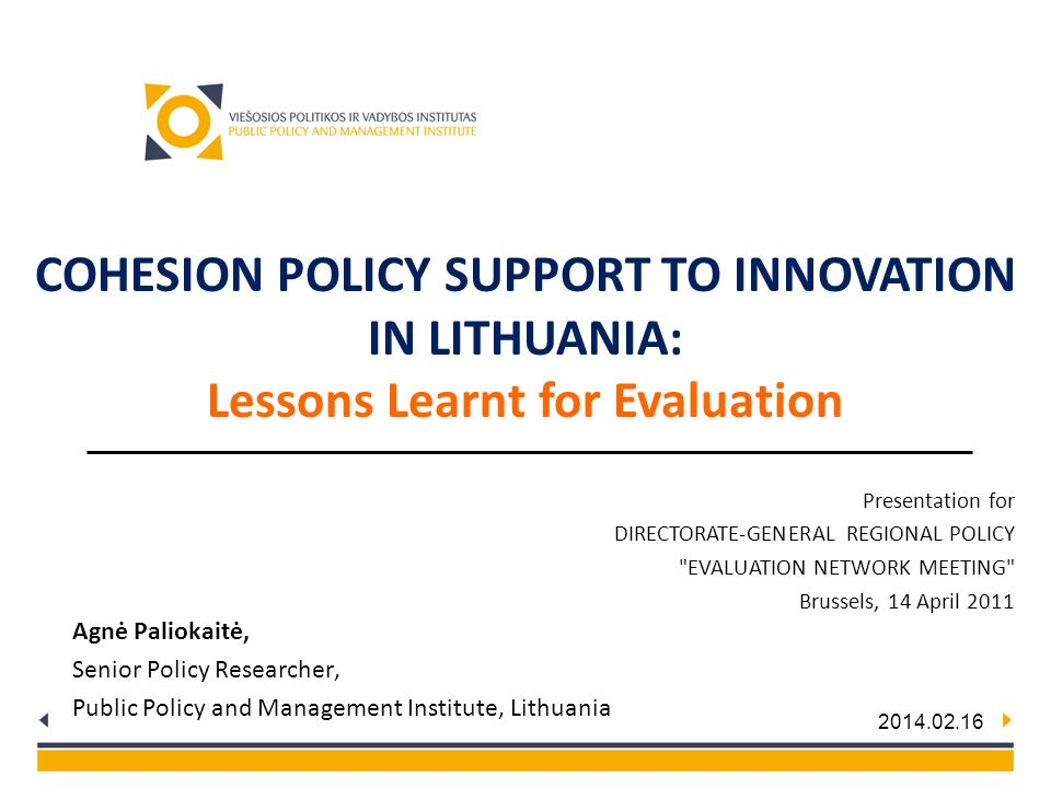 Cohesion Policy Support to Innovation in Lithuania: Lessons Learnt for Evaluation