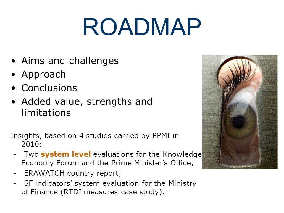 ROADMAP Aims and challenges Approach Conclusions